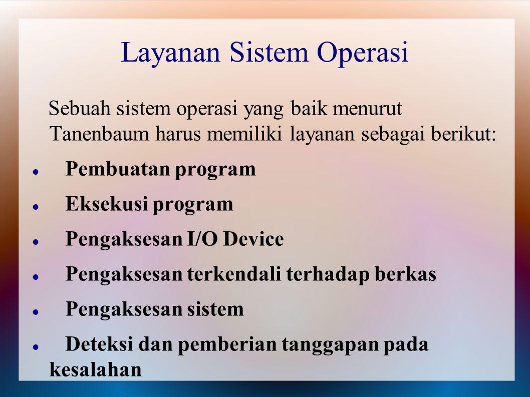 Layanan Sistem Operasi Sebuah sistem operasi yang baik menurut Tanenbaum harus memiliki layanan sebagai berikut: Pembuatan program Eksekusi program Pe
