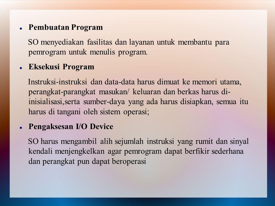 Pembuatan Program SO menyediakan fasilitas dan layanan untuk membantu para pemrogram untuk menulis program. Eksekusi Program Instruksi-instruksi dan d