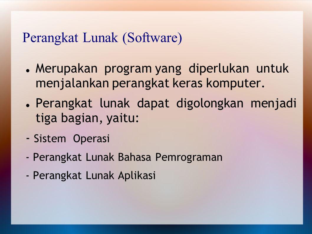 Perangkat Lunak (Software) Merupakan program yang diperlukan untuk menjalankan perangkat keras komputer. Perangkat lunak dapat digolongkan menjadi tig