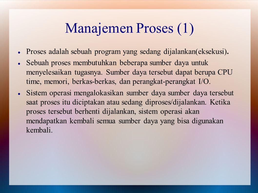 Proses adalah sebuah program yang sedang dijalankan(eksekusi). Sebuah proses membutuhkan beberapa sumber daya untuk menyelesaikan tugasnya. Sumber day