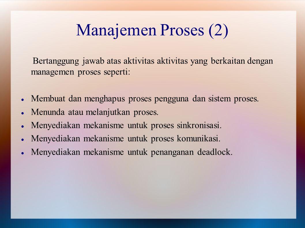 Bertanggung jawab atas aktivitas aktivitas yang berkaitan dengan managemen proses seperti: Membuat dan menghapus proses pengguna dan sistem proses. Me