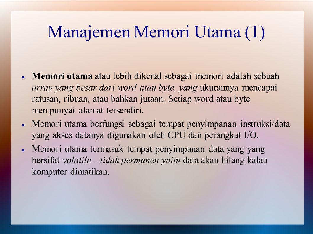 Memori utama atau lebih dikenal sebagai memori adalah sebuah array yang besar dari word atau byte, yang ukurannya mencapai ratusan, ribuan, atau bahka