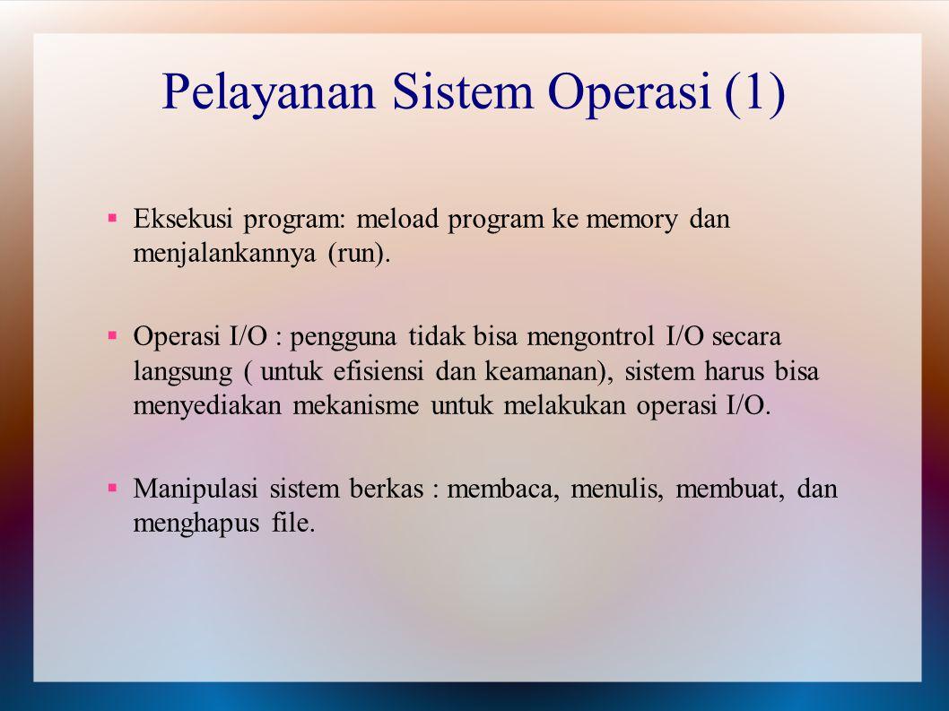  Eksekusi program: meload program ke memory dan menjalankannya (run).  Operasi I/O : pengguna tidak bisa mengontrol I/O secara langsung ( untuk efis