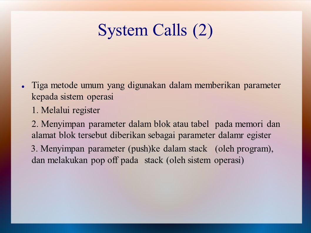 Tiga metode umum yang digunakan dalam memberikan parameter kepada sistem operasi 1. Melalui register 2. Menyimpan parameter dalam blok atau tabel pada