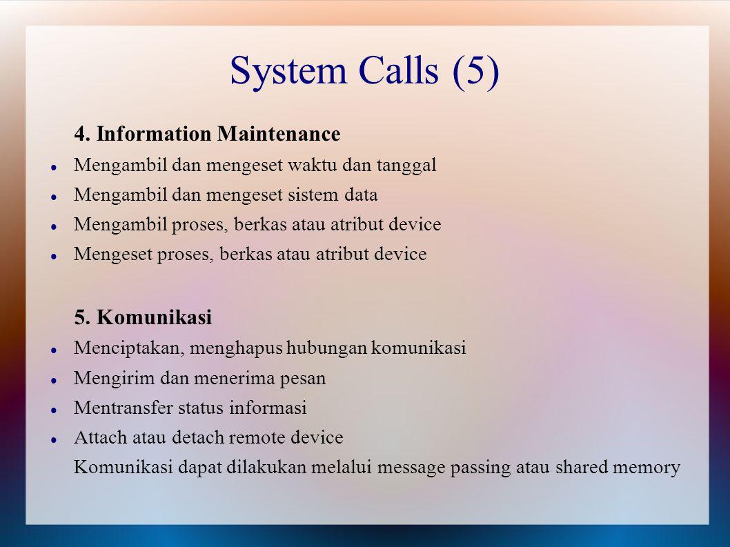4. Information Maintenance Mengambil dan mengeset waktu dan tanggal Mengambil dan mengeset sistem data Mengambil proses, berkas atau atribut device Me