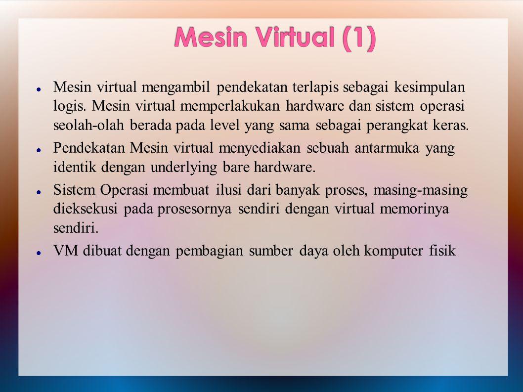 Mesin virtual mengambil pendekatan terlapis sebagai kesimpulan logis. Mesin virtual memperlakukan hardware dan sistem operasi seolah-olah berada pada