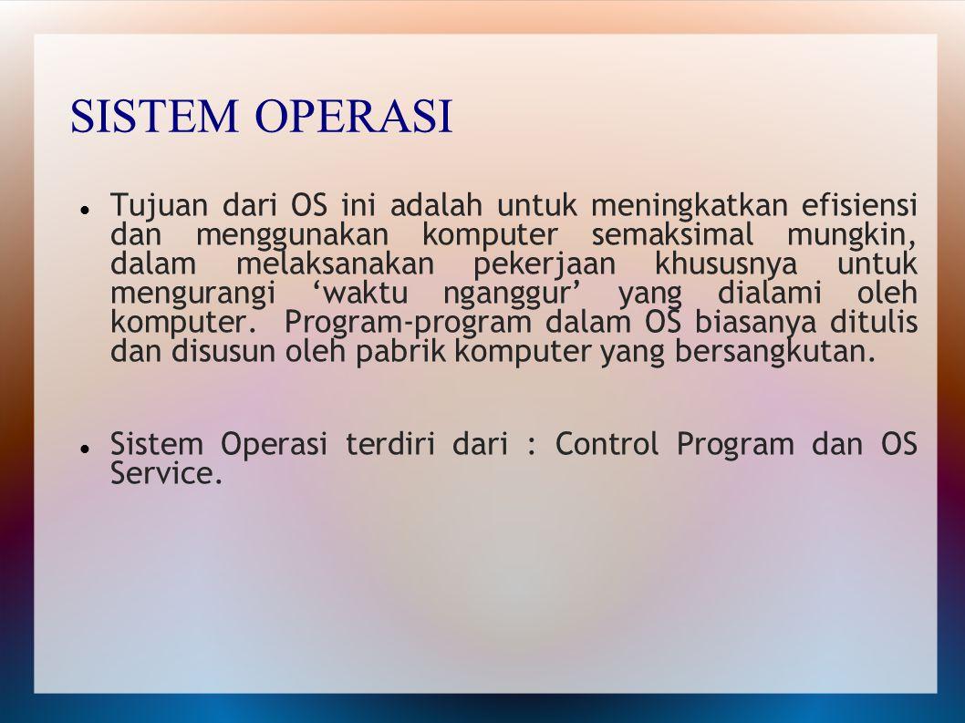 Layanan Sistem Operasi Sebuah sistem operasi yang baik menurut Tanenbaum harus memiliki layanan sebagai berikut: Pembuatan program Eksekusi program Pengaksesan I/O Device Pengaksesan terkendali terhadap berkas Pengaksesan sistem Deteksi dan pemberian tanggapan pada kesalahan Akunting.