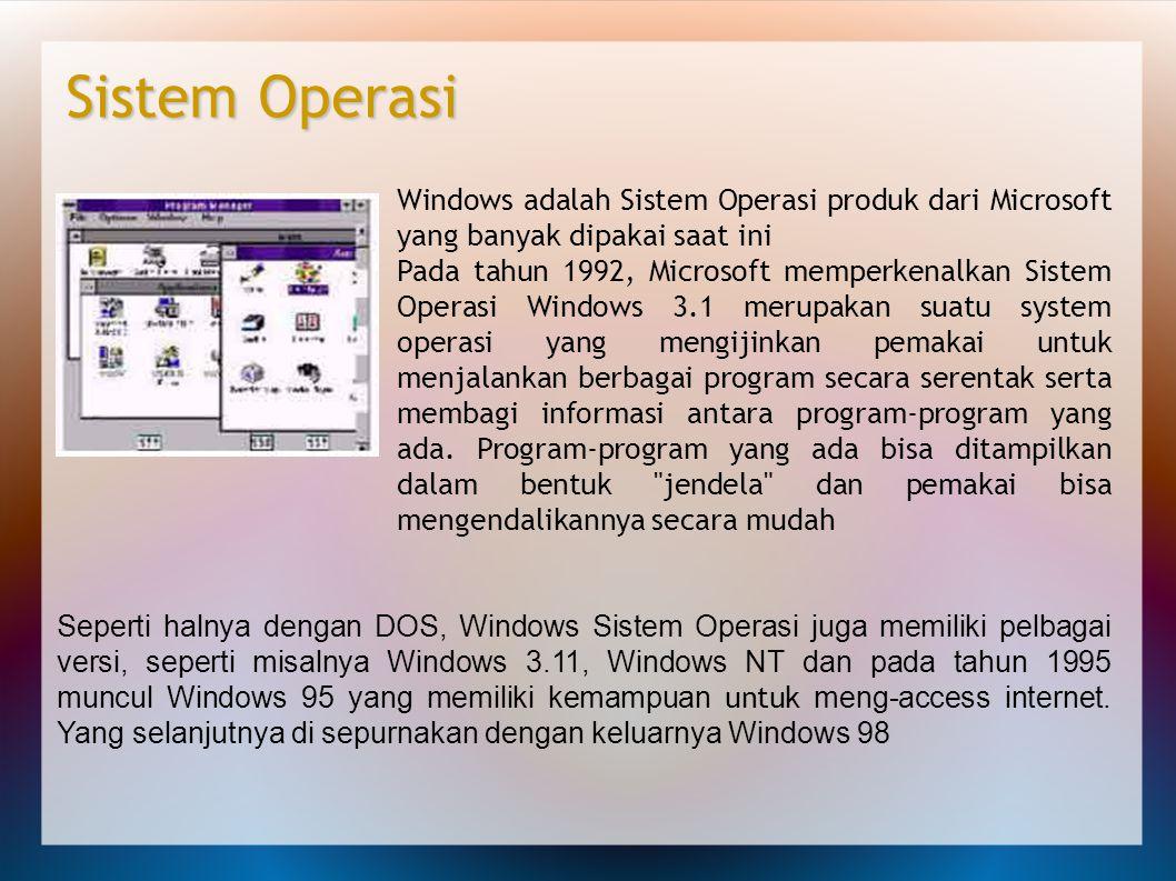 Windows adalah Sistem Operasi produk dari Microsoft yang banyak dipakai saat ini Pada tahun 1992, Microsoft memperkenalkan Sistem Operasi Windows 3.1