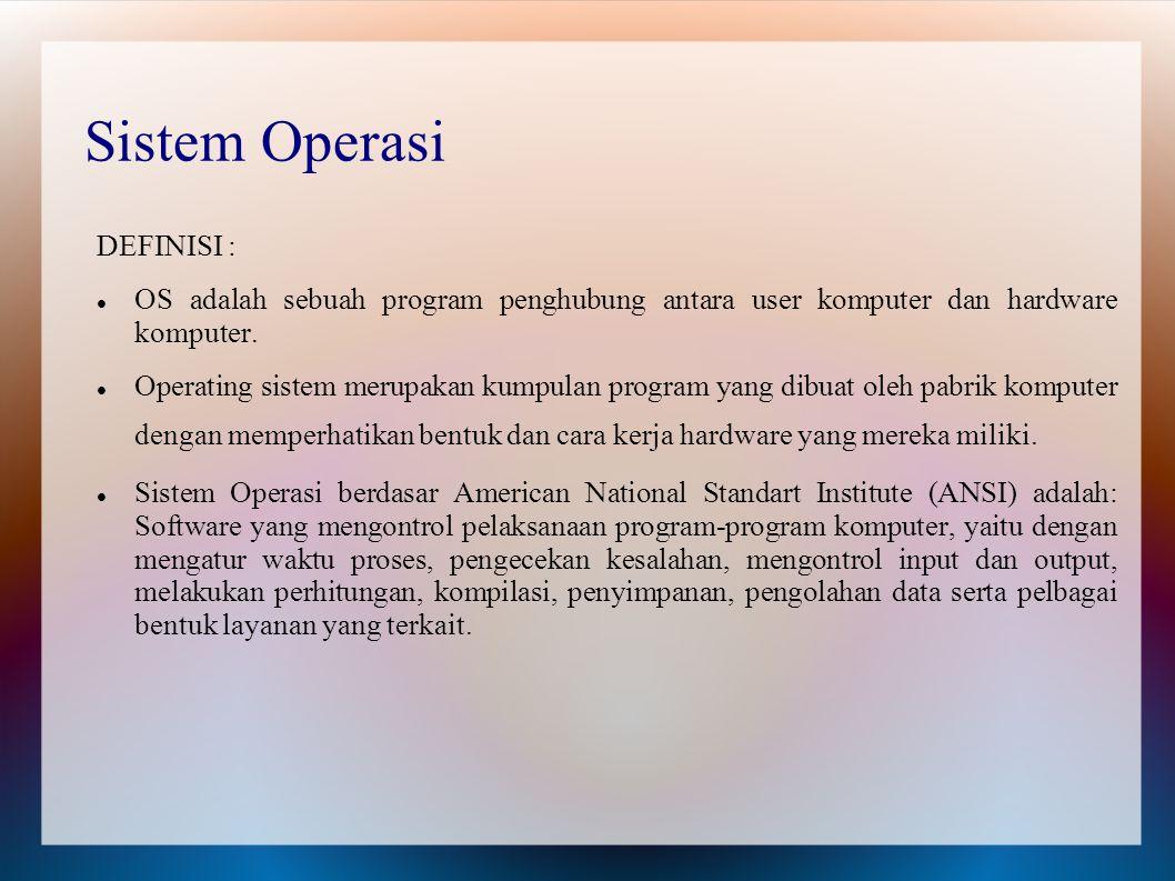 Sistem Operasi DEFINISI : OS adalah sebuah program penghubung antara user komputer dan hardware komputer. Operating sistem merupakan kumpulan program