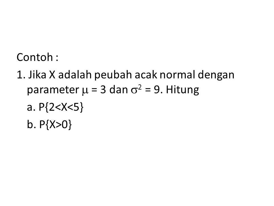 Contoh : 1. Jika X adalah peubah acak normal dengan parameter  = 3 dan  2 = 9. Hitung a. P{2<X<5} b. P{X>0}