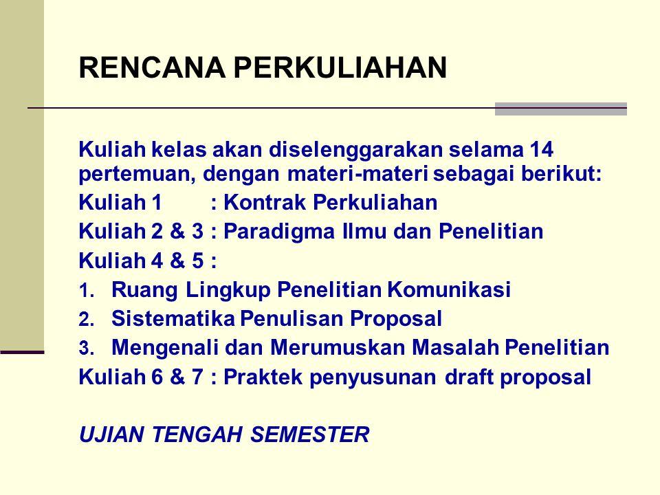 RENCANA PERKULIAHAN Kuliah kelas akan diselenggarakan selama 14 pertemuan, dengan materi-materi sebagai berikut: Kuliah 1: Kontrak Perkuliahan Kuliah