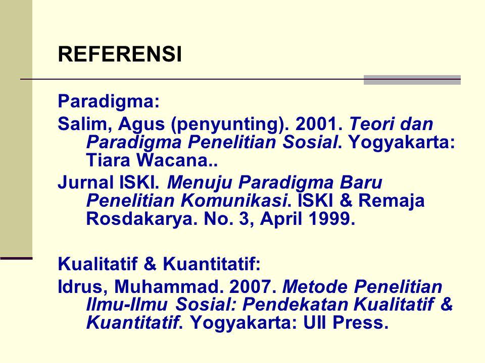 REFERENSI Paradigma: Salim, Agus (penyunting). 2001. Teori dan Paradigma Penelitian Sosial. Yogyakarta: Tiara Wacana.. Jurnal ISKI. Menuju Paradigma B
