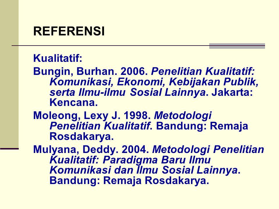 REFERENSI Kualitatif: Bungin, Burhan. 2006. Penelitian Kualitatif: Komunikasi, Ekonomi, Kebijakan Publik, serta Ilmu-ilmu Sosial Lainnya. Jakarta: Ken