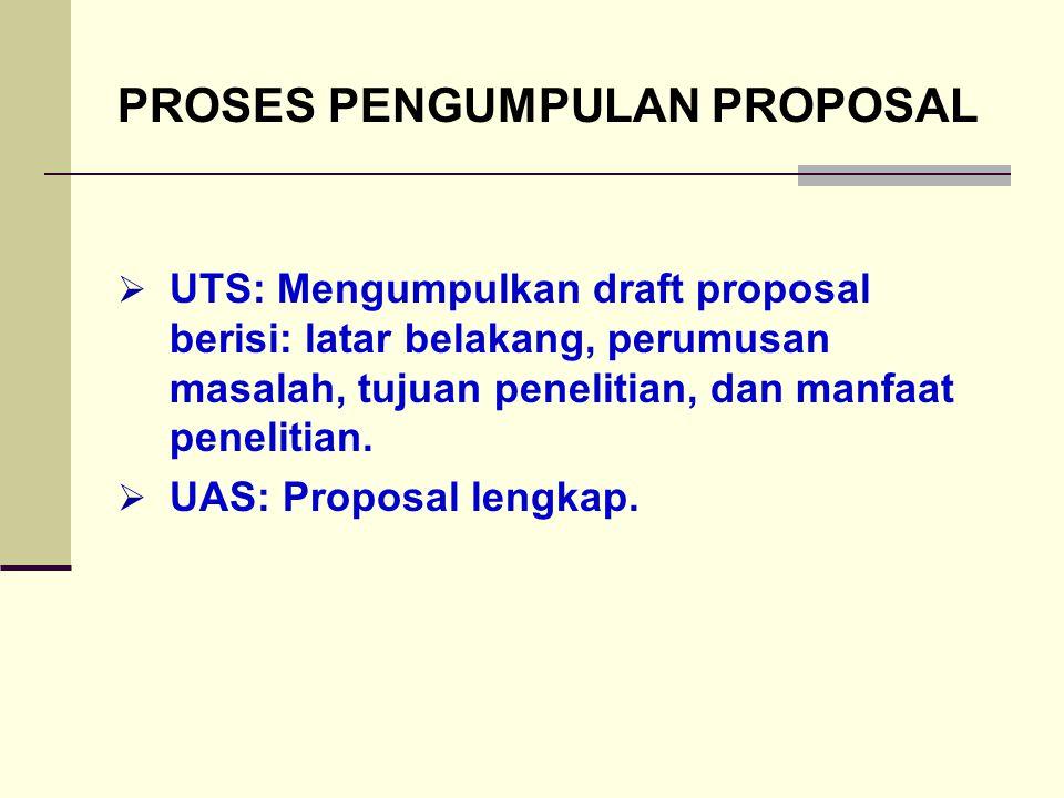 PROSES PENGUMPULAN PROPOSAL  UTS: Mengumpulkan draft proposal berisi: latar belakang, perumusan masalah, tujuan penelitian, dan manfaat penelitian. 