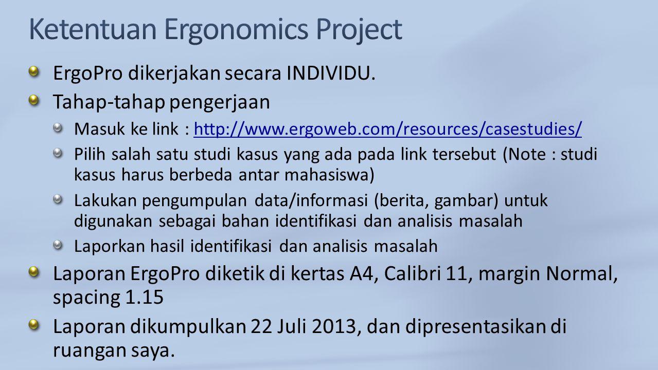ErgoPro dikerjakan secara INDIVIDU. Tahap-tahap pengerjaan Masuk ke link : http://www.ergoweb.com/resources/casestudies/http://www.ergoweb.com/resourc