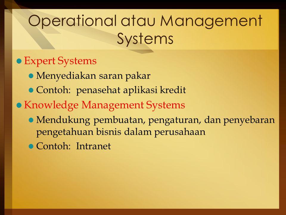 Operational atau Management Systems Expert Systems Menyediakan saran pakar Contoh: penasehat aplikasi kredit Knowledge Management Systems Mendukung pembuatan, pengaturan, dan penyebaran pengetahuan bisnis dalam perusahaan Contoh: Intranet