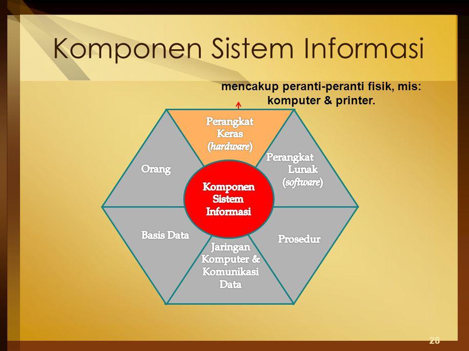 Komponen Sistem Informasi 28 mencakup peranti-peranti fisik, mis: komputer & printer.