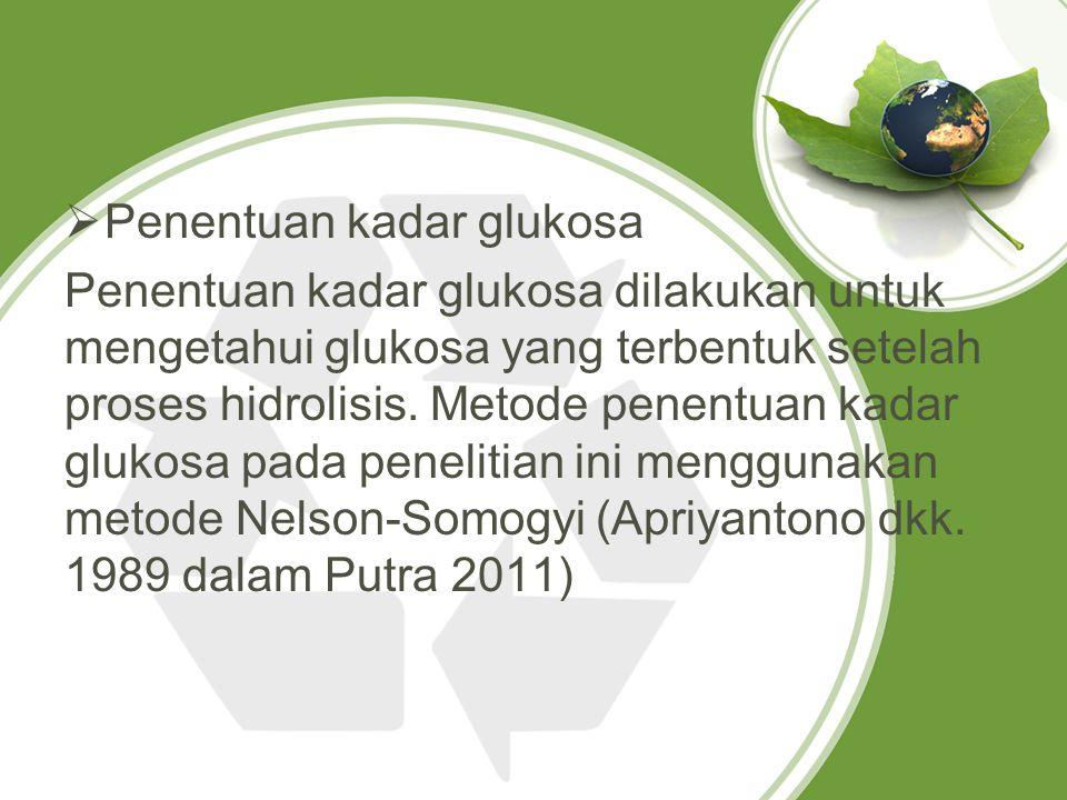  Penentuan kadar glukosa Penentuan kadar glukosa dilakukan untuk mengetahui glukosa yang terbentuk setelah proses hidrolisis. Metode penentuan kadar