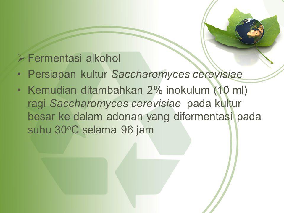  Fermentasi alkohol Persiapan kultur Saccharomyces cerevisiae Kemudian ditambahkan 2% inokulum (10 ml) ragi Saccharomyces cerevisiae pada kultur besar ke dalam adonan yang difermentasi pada suhu 30 o C selama 96 jam