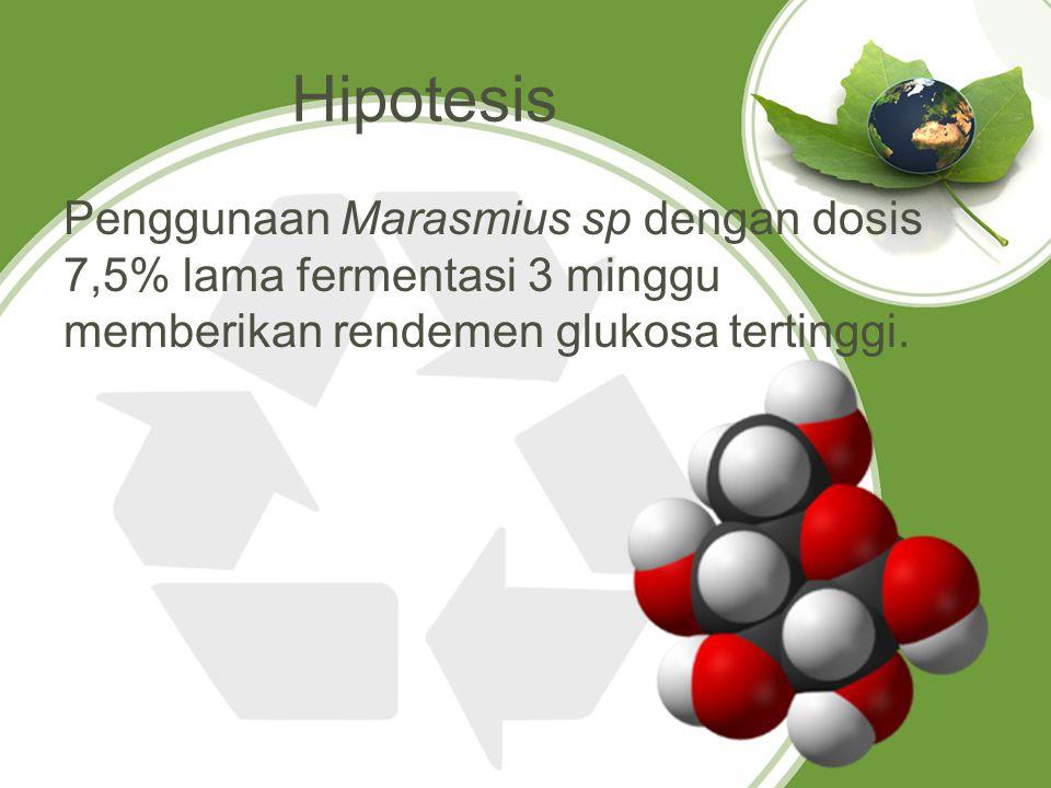 Hipotesis Penggunaan Marasmius sp dengan dosis 7,5% lama fermentasi 3 minggu memberikan rendemen glukosa tertinggi.