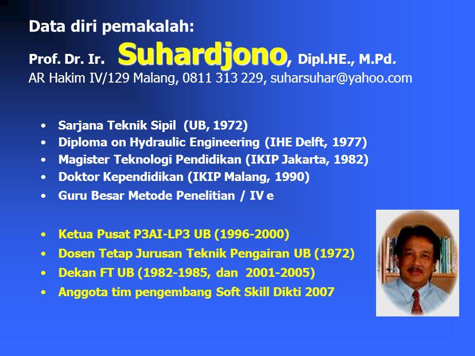 Suhardjono Data diri pemakalah: Prof.Dr. Ir. Suhardjono, Dipl.HE., M.Pd.