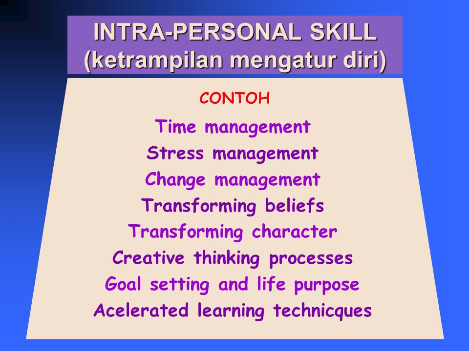 INTRA-PERSONAL SKILL (ketrampilan mengatur diri) Time management Stress management Change management Transforming beliefs Transforming character Creative thinking processes Goal setting and life purpose Acelerated learning technicques CONTOH