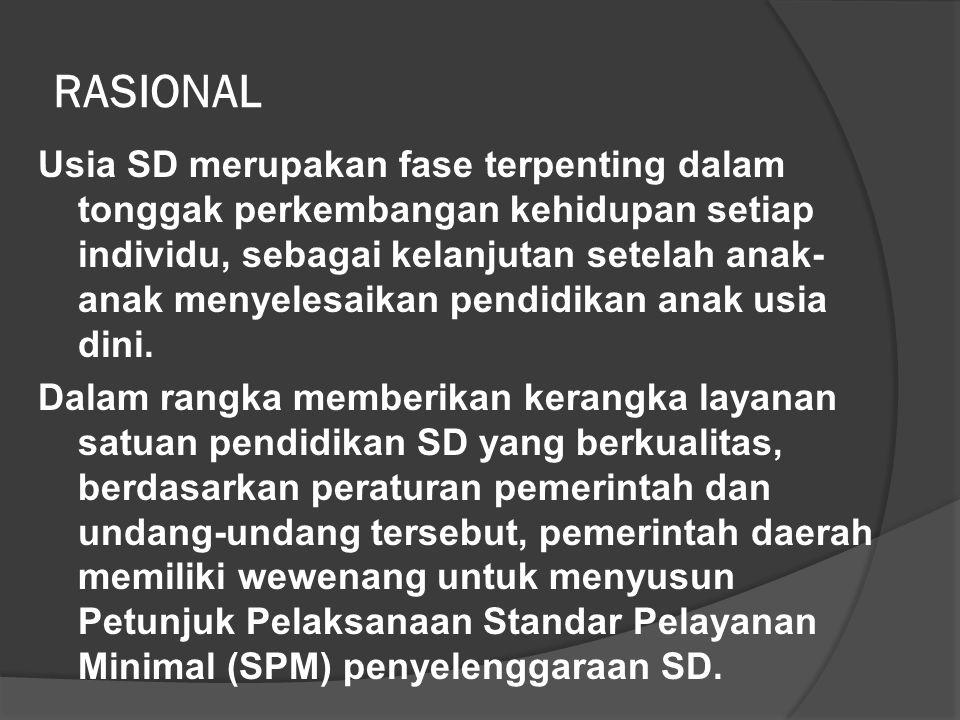 RASIONAL Usia SD merupakan fase terpenting dalam tonggak perkembangan kehidupan setiap individu, sebagai kelanjutan setelah anak- anak menyelesaikan pendidikan anak usia dini.