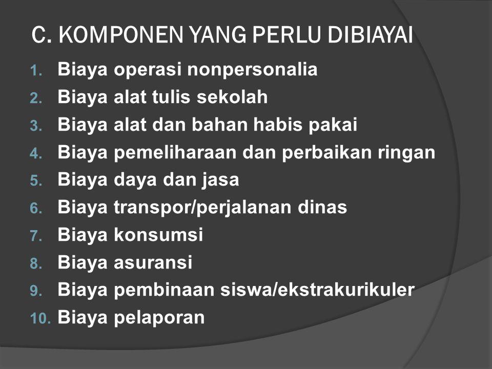 C.KOMPONEN YANG PERLU DIBIAYAI 1. Biaya operasi nonpersonalia 2.