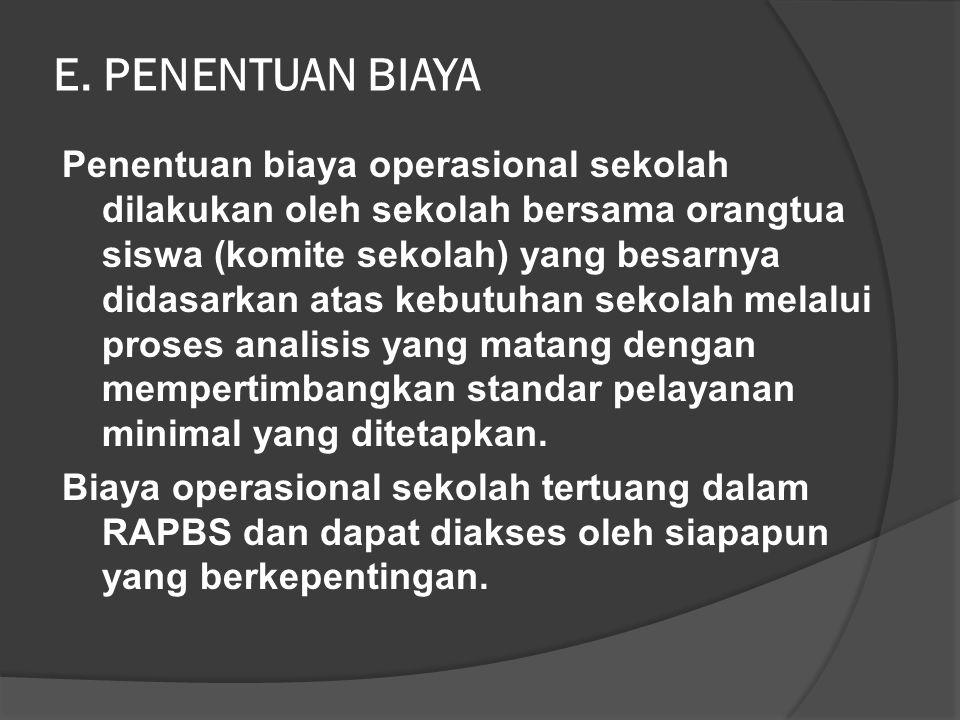 contoh Sebagai perbandingan satuan biaya operasional SD di DKI Jakarta adalah seperti berikut. Ketentuan biaya untuk SD dengan 6 rombongan belajar den