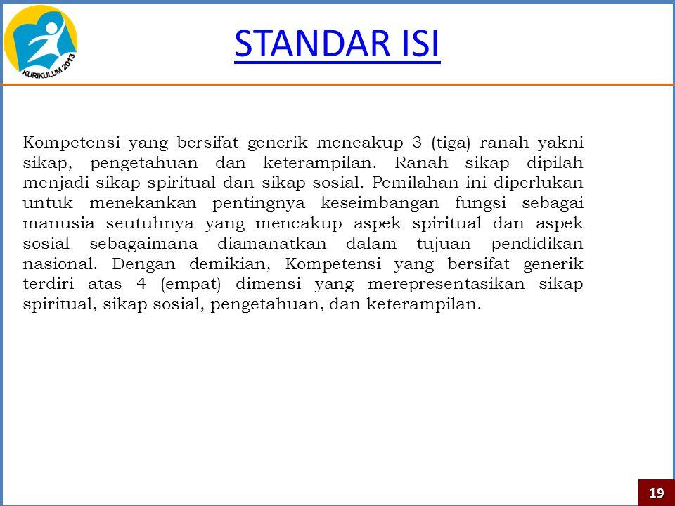 STANDAR ISI Kompetensi yang bersifat generik mencakup 3 (tiga) ranah yakni sikap, pengetahuan dan keterampilan. Ranah sikap dipilah menjadi sikap spir