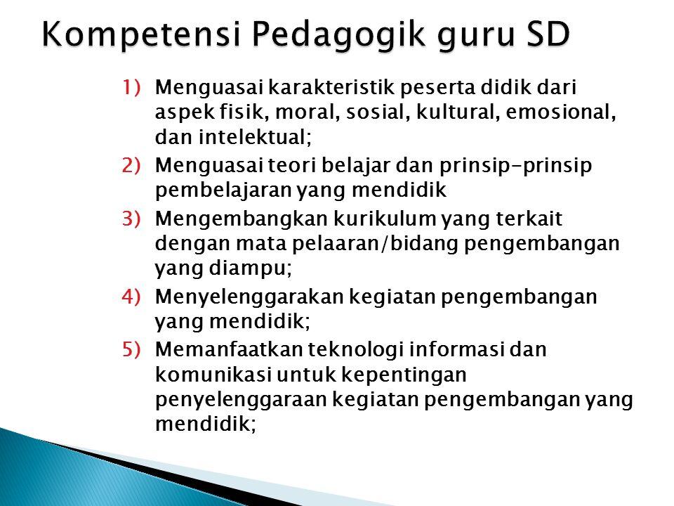 Standar kompetensi guru  Standar kompetensi yang harus dimiliki guru dikembangkan secara utuh dari empat kompetensi utama, yaitu kompetensi pedagogik