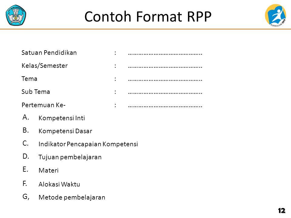 Contoh Format RPP 12 Satuan Pendidikan:…………………………………….. Kelas/Semester:…………………………………….. Tema:…………………………………….. Sub Tema:…………………………………….. Pertemuan Ke-: