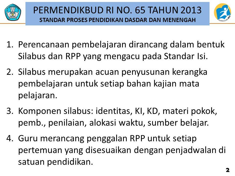 PERMENDIKBUD RI NO. 65 TAHUN 2013 STANDAR PROSES PENDIDIKAN DASDAR DAN MENENGAH 1.Perencanaan pembelajaran dirancang dalam bentuk Silabus dan RPP yang