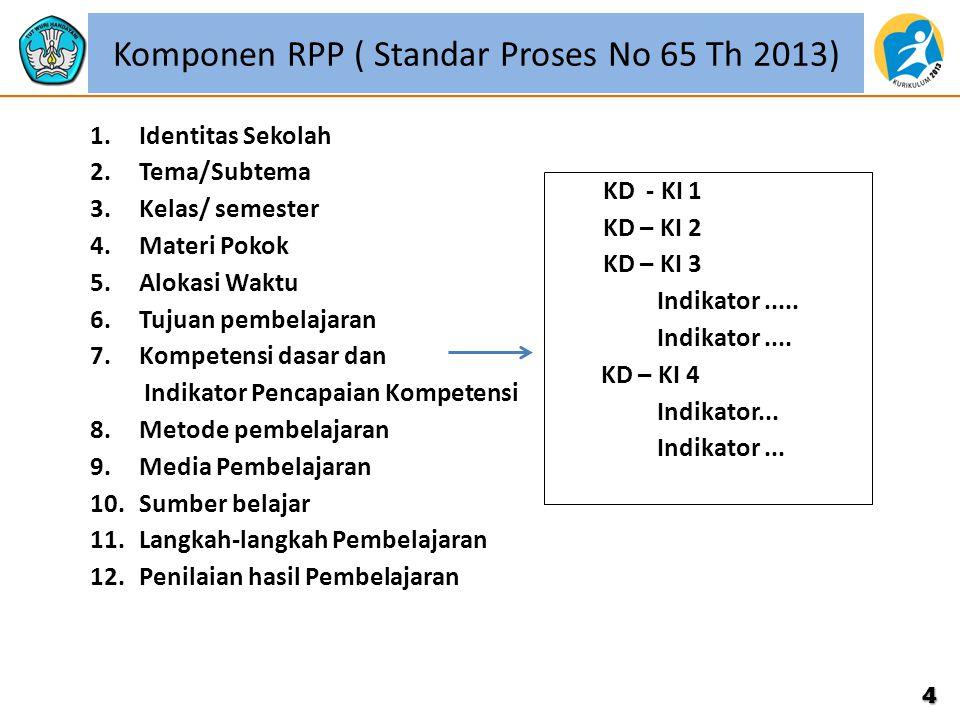 Komponen RPP ( Standar Proses No 65 Th 2013) 1.Identitas Sekolah 2.Tema/Subtema 3.Kelas/ semester 4.Materi Pokok 5.Alokasi Waktu 6.Tujuan pembelajaran 7.Kompetensi dasar dan Indikator Pencapaian Kompetensi 8.Metode pembelajaran 9.Media Pembelajaran 10.Sumber belajar 11.Langkah-langkah Pembelajaran 12.Penilaian hasil Pembelajaran 4 KD - KI 1 KD – KI 2 KD – KI 3 Indikator.....