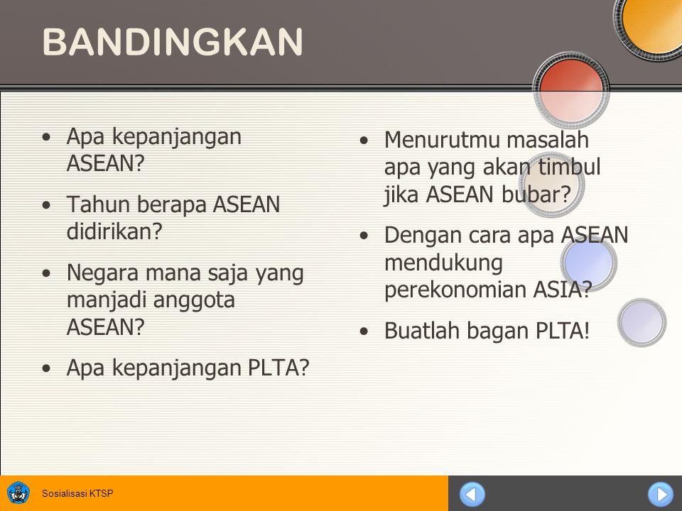 Sosialisasi KTSP BANDINGKAN Apa kepanjangan ASEAN.