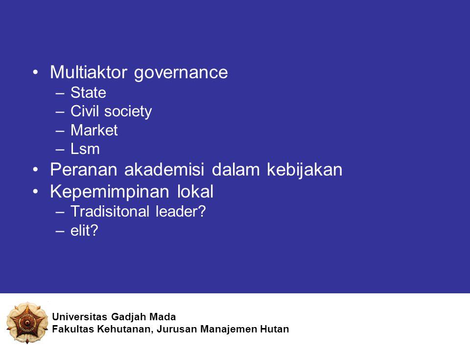 Multiaktor governance –State –Civil society –Market –Lsm Peranan akademisi dalam kebijakan Kepemimpinan lokal –Tradisitonal leader.