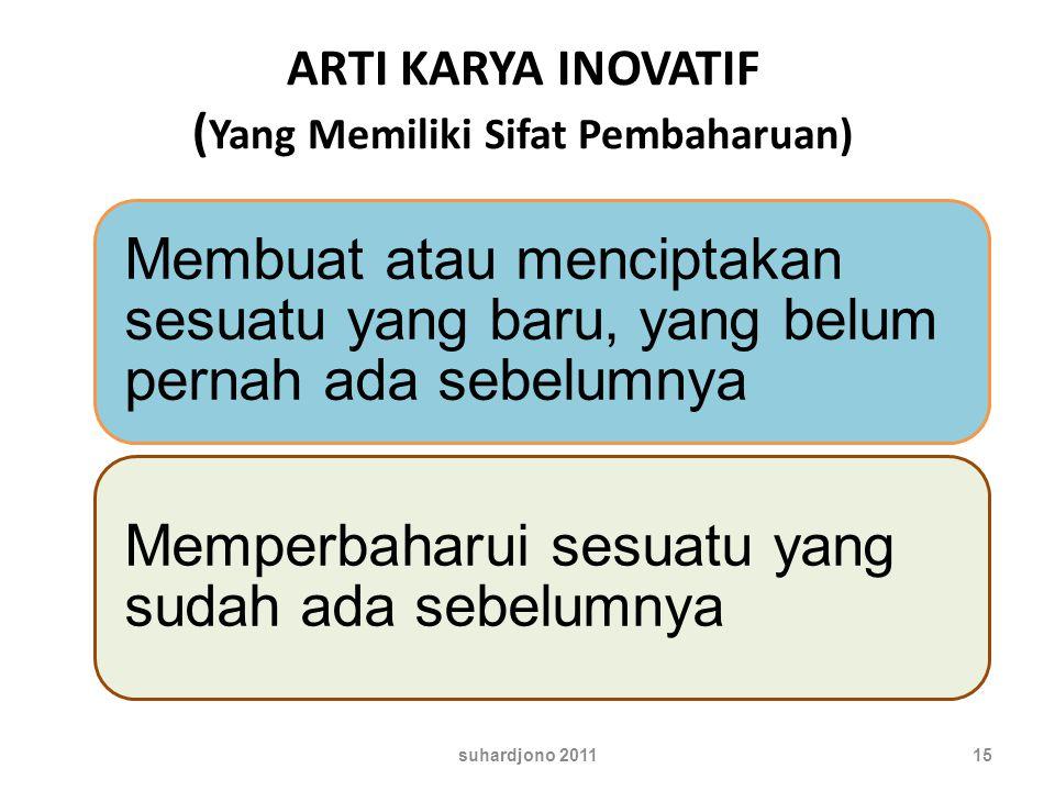 ARTI KARYA INOVATIF ( Yang Memiliki Sifat Pembaharuan) 15suhardjono 2011