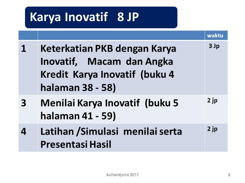 waktu 1Keterkatian PKB dengan Karya Inovatif, Macam dan Angka Kredit Karya Inovatif (buku 4 halaman 38 - 58) 3 Jp 3Menilai Karya Inovatif (buku 5 halaman 41 - 59) 2 jp 4Latihan /Simulasi menilai serta Presentasi Hasil 2 jp 2suhardjono 2011