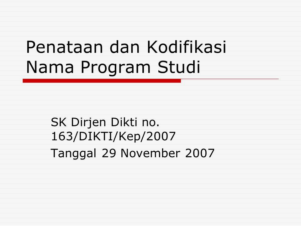 SK-163  Menata dan mengkodifikasi nama program studi  Menghindari penggunaan nama program studi yang bervariasi (sesuai selera) padahal substansi kurikulum tidak berbeda  Kodifikasi yang terstruktur untuk efisiensi dan efektifitas dalam penyajian informasi bagi manajemen