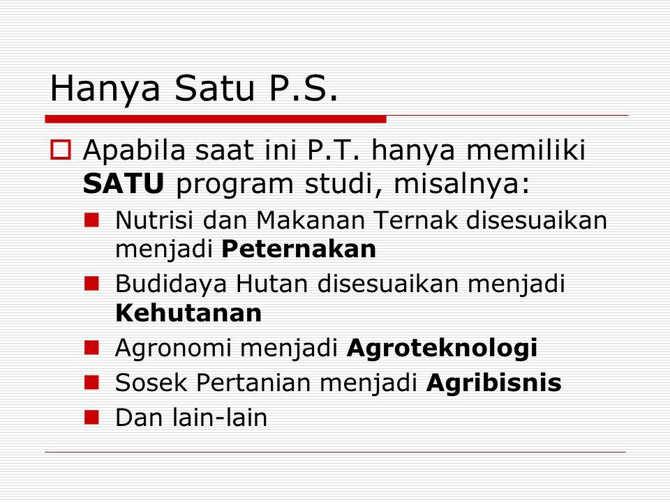 Hanya Satu P.S.  Apabila saat ini P.T. hanya memiliki SATU program studi, misalnya: Nutrisi dan Makanan Ternak disesuaikan menjadi Peternakan Budiday