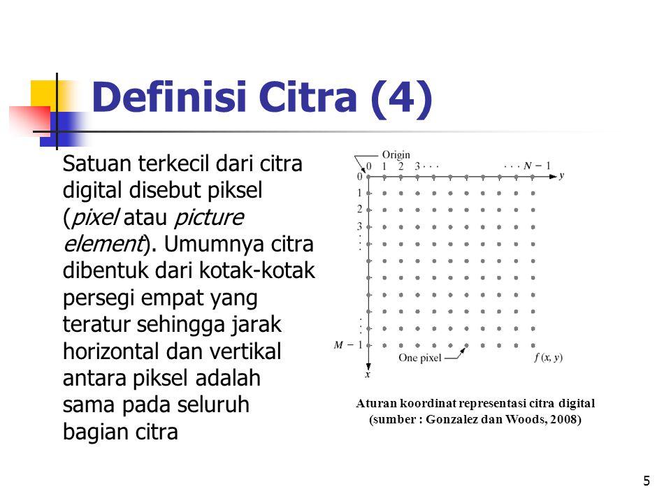 6 Referesentasi Citra Dalam komputer setiap piksel diwakili oleh dua buah bilangan bulat (integer) untuk menunjukkan lokasi dalam bidang citra, misalnya koordinat (0,0) digunakan untuk pojok kiri atas citra dan koordinat (m-1,n-1) digunakan untuk pojok kanan bawah dalam citra berukuran m x n piksel.