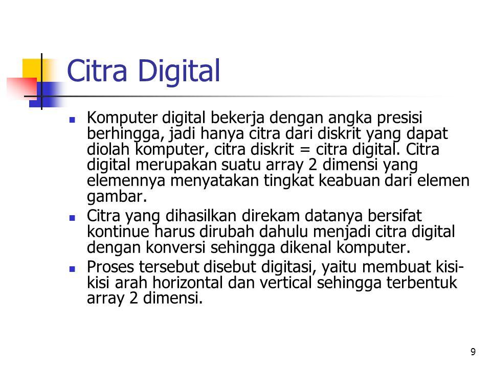 9 Citra Digital Komputer digital bekerja dengan angka presisi berhingga, jadi hanya citra dari diskrit yang dapat diolah komputer, citra diskrit = cit