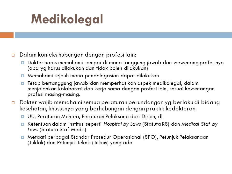 Medikolegal  Dalam konteks hubungan dengan profesi lain:  Dokter harus memahami sampai di mana tanggung jawab dan wewenang profesinya (apa yg harus