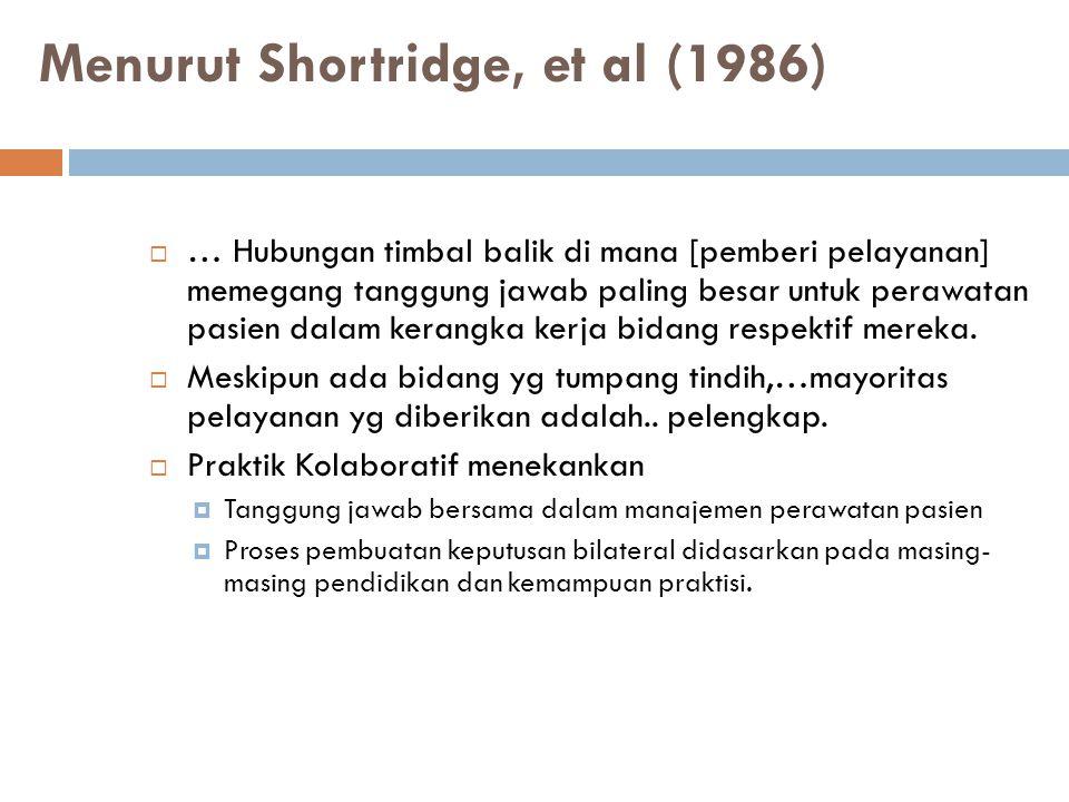 Menurut Shortridge, et al (1986)  … Hubungan timbal balik di mana [pemberi pelayanan] memegang tanggung jawab paling besar untuk perawatan pasien dal