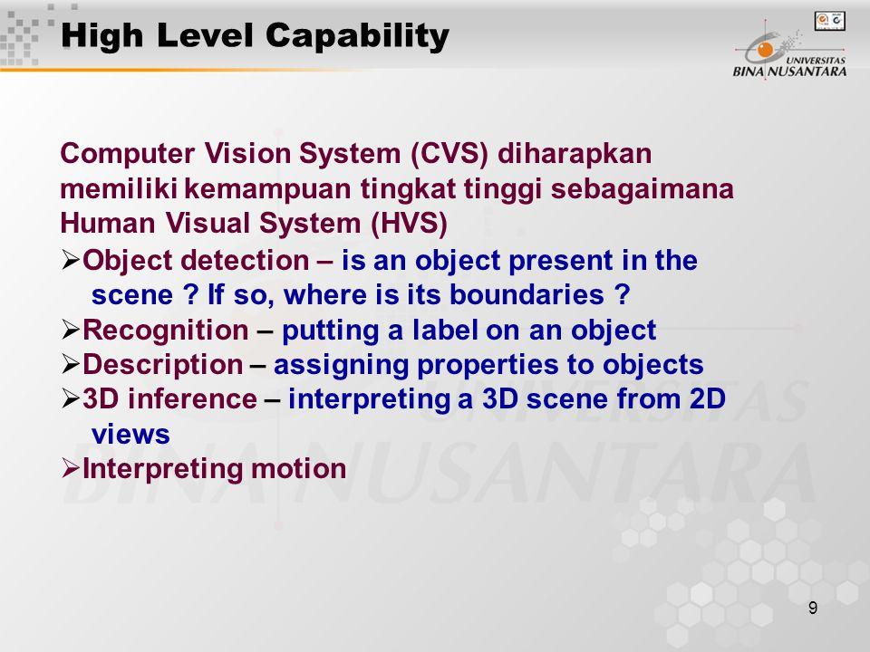 9 Computer Vision System (CVS) diharapkan memiliki kemampuan tingkat tinggi sebagaimana Human Visual System (HVS)  Object detection – is an object pr