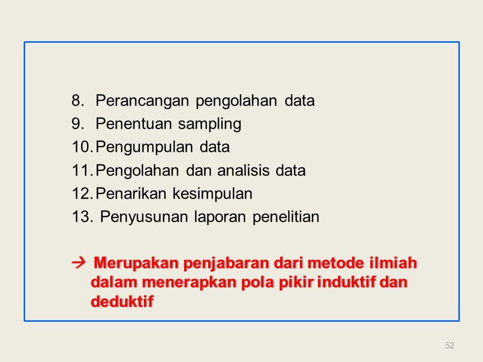 8.Perancangan pengolahan data 9.Penentuan sampling 10.Pengumpulan data 11.Pengolahan dan analisis data 12.Penarikan kesimpulan 13. Penyusunan laporan