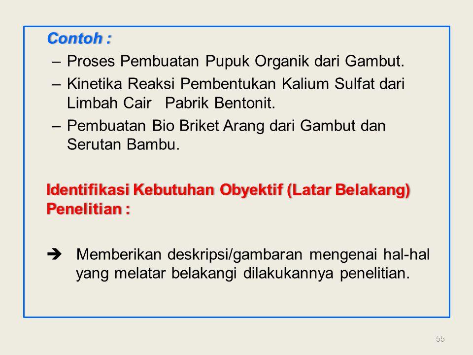Contoh :Contoh : –Proses Pembuatan Pupuk Organik dari Gambut. –Kinetika Reaksi Pembentukan Kalium Sulfat dari Limbah Cair Pabrik Bentonit. –Pembuatan