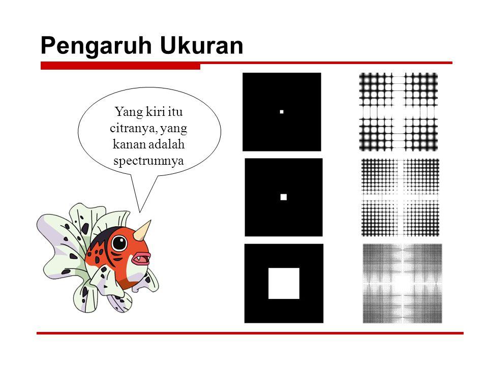 Pengaruh Ukuran Yang kiri itu citranya, yang kanan adalah spectrumnya