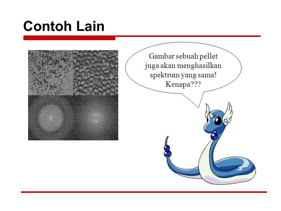 Contoh Lain Gambar sebuah pellet juga akan menghasilkan spektrum yang sama! Kenapa???