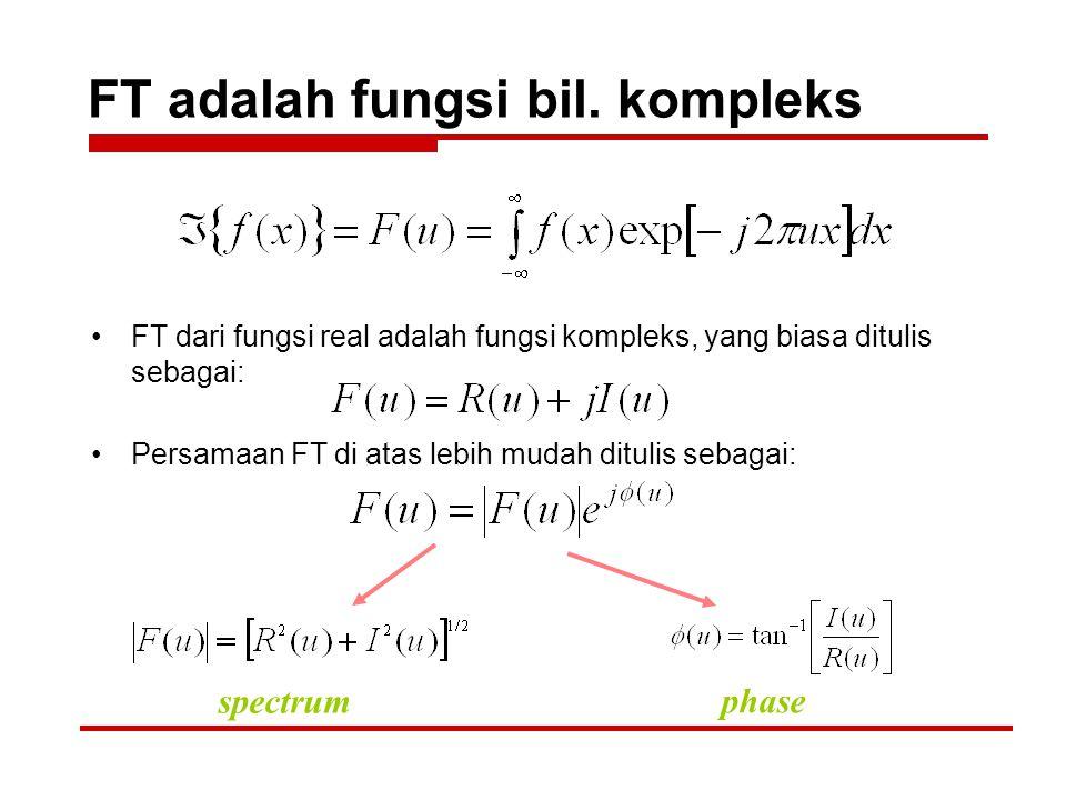 FT adalah fungsi bil. kompleks FT dari fungsi real adalah fungsi kompleks, yang biasa ditulis sebagai: Persamaan FT di atas lebih mudah ditulis sebaga